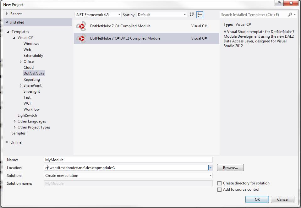 Using the new Module Development Templates for DotNetNuke 7